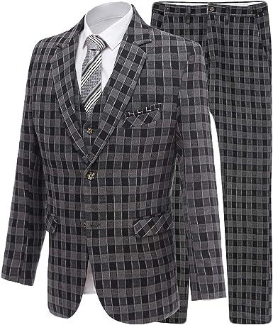 P.L.X Boys Slim Fit 3-Piece Suit Blazer Jacket Vest Pants Classic Formal Dress Suits Set