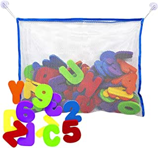 TOYANDONA Bath Foam Letters 1 Set Soft Foam ABC 123 Letters & Numbers with Mesh Net Educational Kids Bathtub Games for Toddlers Kids