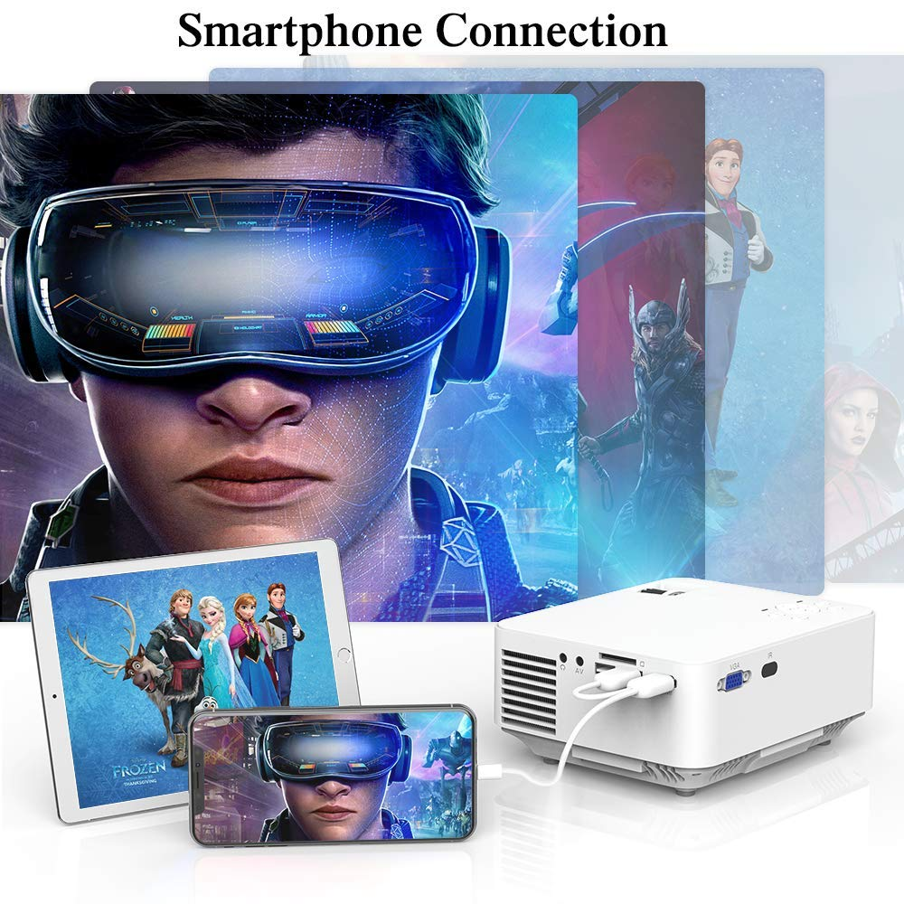 Mini Projector - 2400Lux Hompow Smartphone Portable Video Projector 1080P Supported 176'' Display, 50,000 Hours Led, Compatible with TV Stick/HDMI/VGA/USB/TV Box/Laptop/DVD/PS4 for Home Entertainment by Hompow (Image #3)