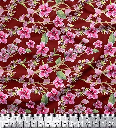 """Tela de satén de poliéster soimoi Con Estampado Floral De Tela Coser Decorativa 1 MTR 44/"""" de ancho"""