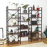 SUPERJARE Triple Wide 5-Tier Bookshelf, Rustic