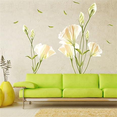 Amazon.com: GTNINE White Carnations Vinyl Wall Decals Modern Wall ...