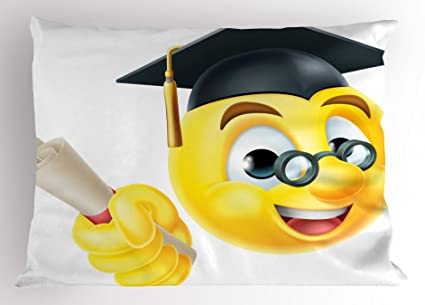 Amazon.com: Lunarable Graduation Pillow Sham, Emoji Emoticon ...