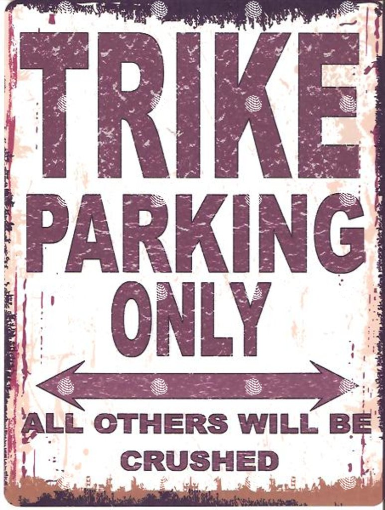 TRIKE PARKING SIGN SMALL 6x8in 15x20cm RETRO VINTAGE STYLE tin wall art shed workshop garage classic cars metal