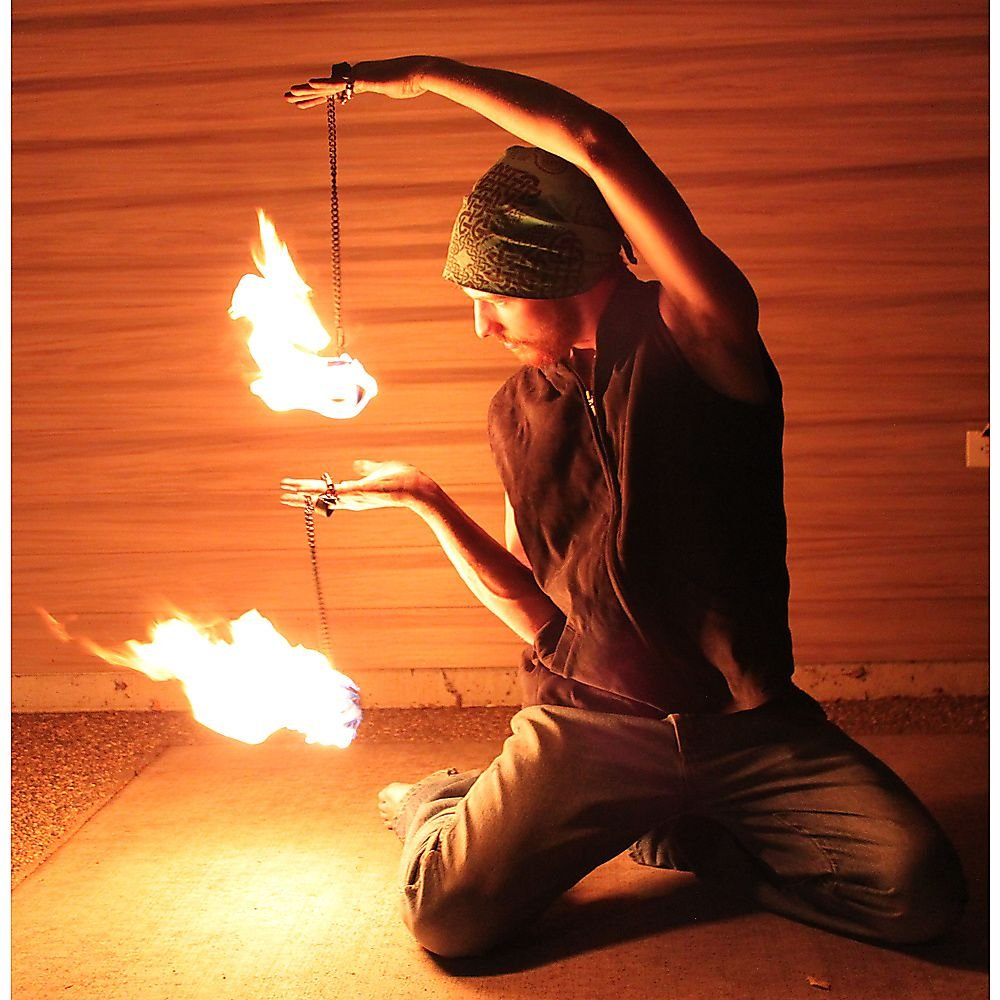 Pair of Pro Chain Block Fire Poi Large - Silver Chain, M - 26 inch (66cm) by Home of Poi (Image #3)