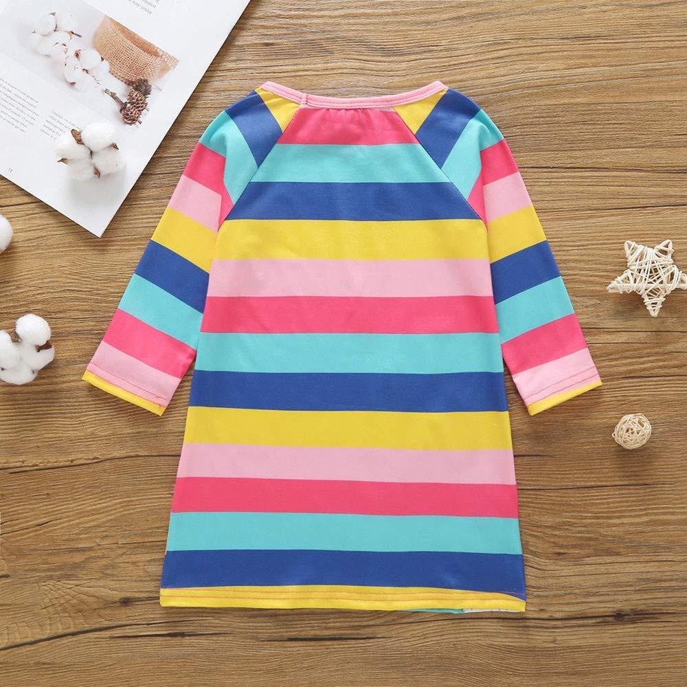 FEITONG Baby Girls Long Sleeve Cartoon Striped Pony Animal Print Casual Dresses