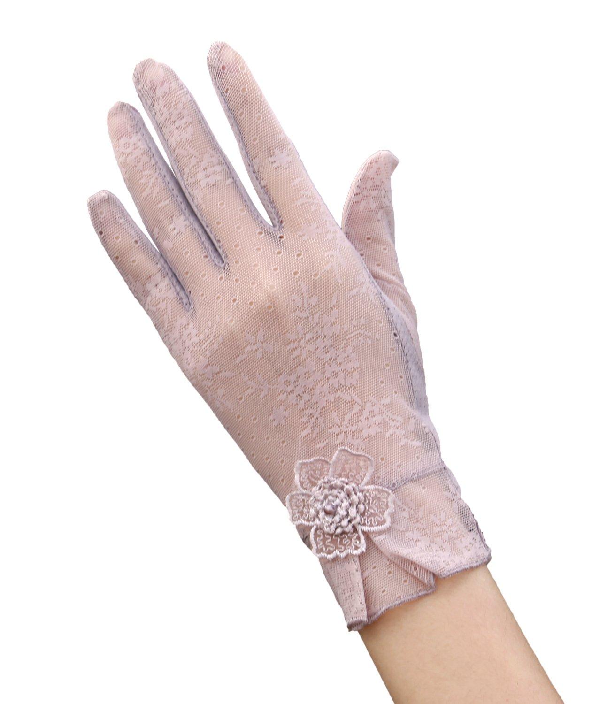 EEVASS Donne UV Protezione Estate Guanti Corti Guanti di Pizzo Eleganti Guanti Corti per il Vestito, Guidare, Matrimonio Matrimonio (# Violet)