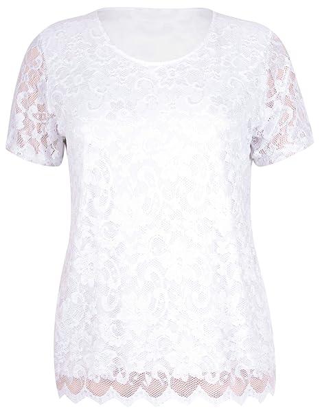 Remera, blusa, para mujer, mangas cortas, para damas, elastizada, con cuello redondo, con encaje floreado, talla grande blanco blanco 42: Amazon.es: Ropa y ...