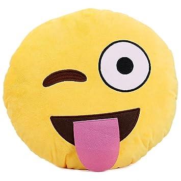1 X Ciamlir Soft Emoji Smiley Emoticon Yellow Round Cushion Pillow Stuffed Plush Toy Doll (1)