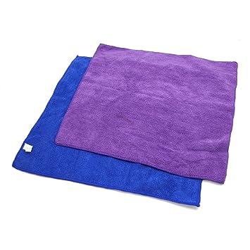 uxcell - 2 Toallas de Microfibra para Limpiar el Coche, Color Azul y Morado: Amazon.es: Coche y moto