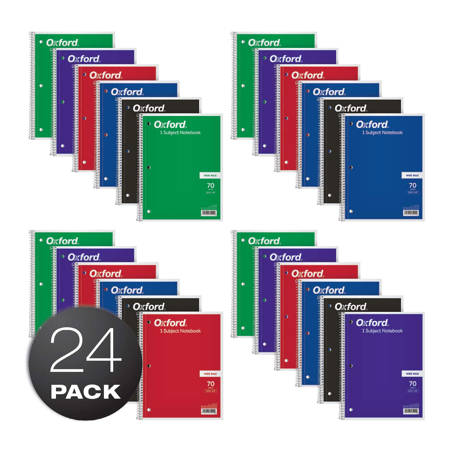Oxford 1-Subject Notebooks, 8'' x 10-1/2'', Wide Rule, 70 Sheets, 24 per Box, Colors May Vary (65000)