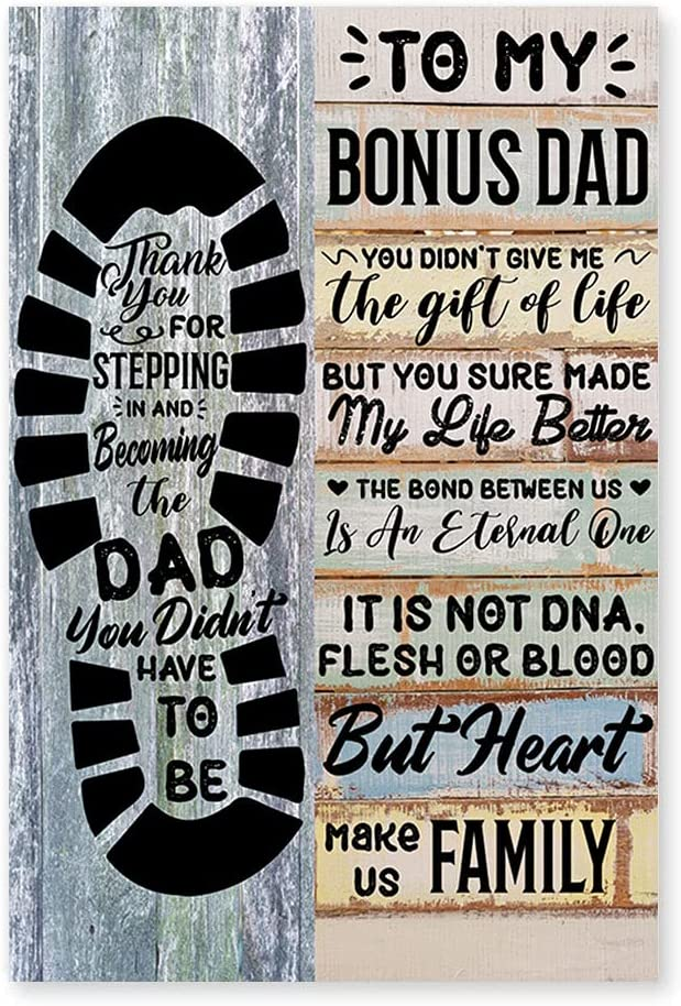 Closeup Canvas Gift from Step-Daughter Step-Son to Step-Dad, Step-Dad Birthday Gift, Family Dad and Children Canvas Wall Painting Wrapped Modern Artwork Living Room Home Decor Ready to Hang