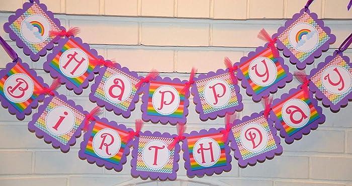 Amazon Purple Happy Birthday Over The Rainbow Banner