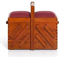 Prym–Caja de costura de madera oscura Natural, tejido