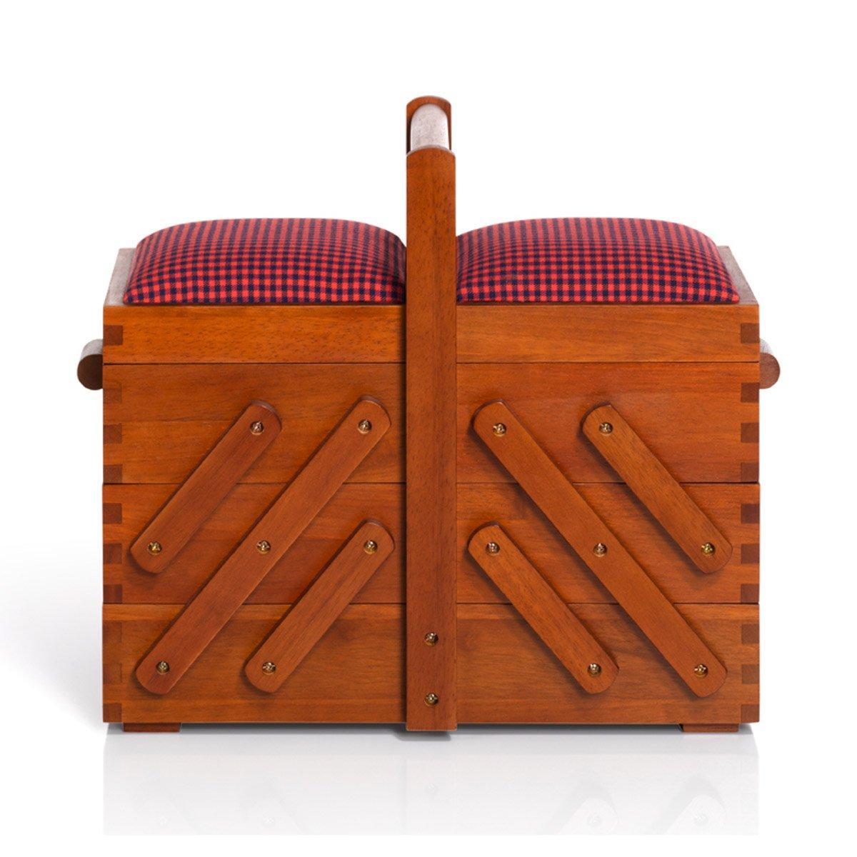 Prym naturale scatola da cucito in legno scuro, tessuto top | media 36x 30x 19cm 612550