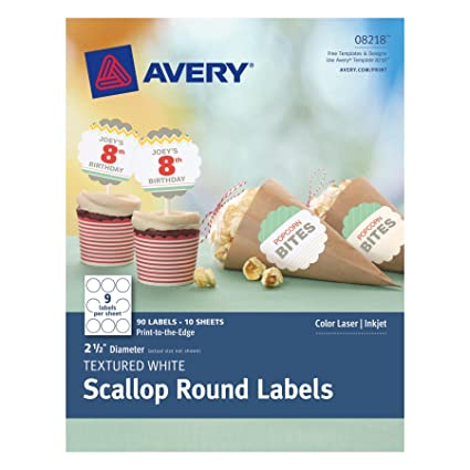 amazon com avery textured scallop round labels white 2 5 inch