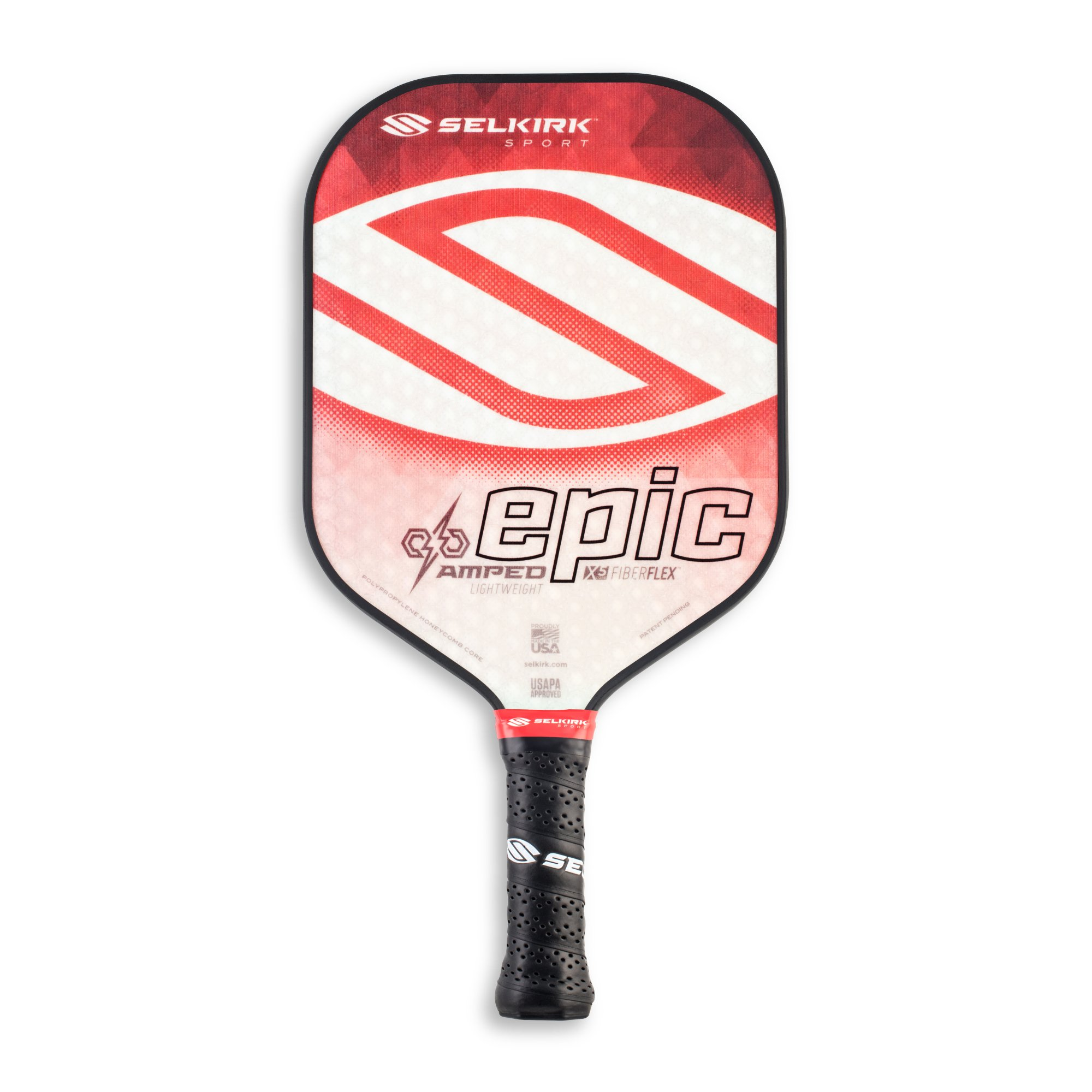 Selkirk Amped Pickleball Paddle - USAPA Approved - X5 Polypropylene Core - FiberFlex Fiberglass Face - 5 Sizes: Epic, S2, Omni, Maxima, and INVIKTA (Epic Lightweight - Ruby Red)