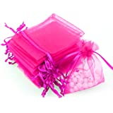 """Akstore 100Pcs 2.8""""x3.6""""(7x9cm) Sheer Drawstring Organza Jewelry Pouches Wedding Party Christmas Favor Gift Bags (Rose)"""