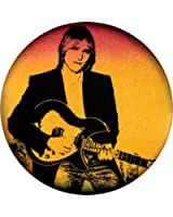 Tom Petty with Guitar on Red/Orange Background (from cover of Full Moon Fever) Button / Pin