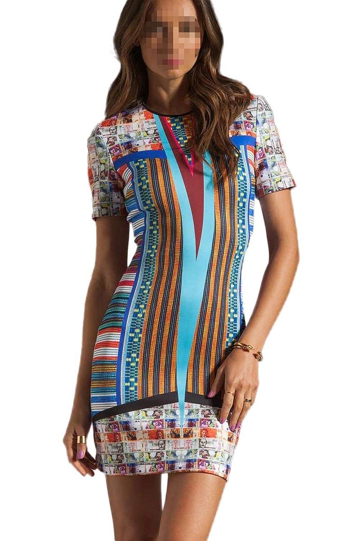 Antemi - Damen - Ethnische Druck Original Short Kleid - Blau - Gröbe M