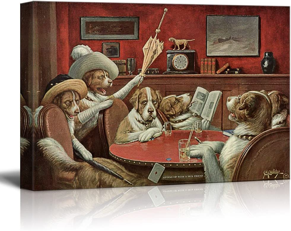 Canvas Wall Art - Dogs Playing Poker Series - Sitting Up with A Sick Friend by by C.M Coolidge - Giclee Print Gallery Wrap Modern Home Art Ready to Hang - 12x18 inches