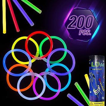 TellementHappy© Pulseras Varitas Luminosas Fluorescentes - Colores de Moda- Ilumine us Fiestas Nocturnas y Bodas con Estas varitas Luminosas Fluorescentes de Moda. Lote de 200 con Conectores: Amazon.es: Juguetes y juegos