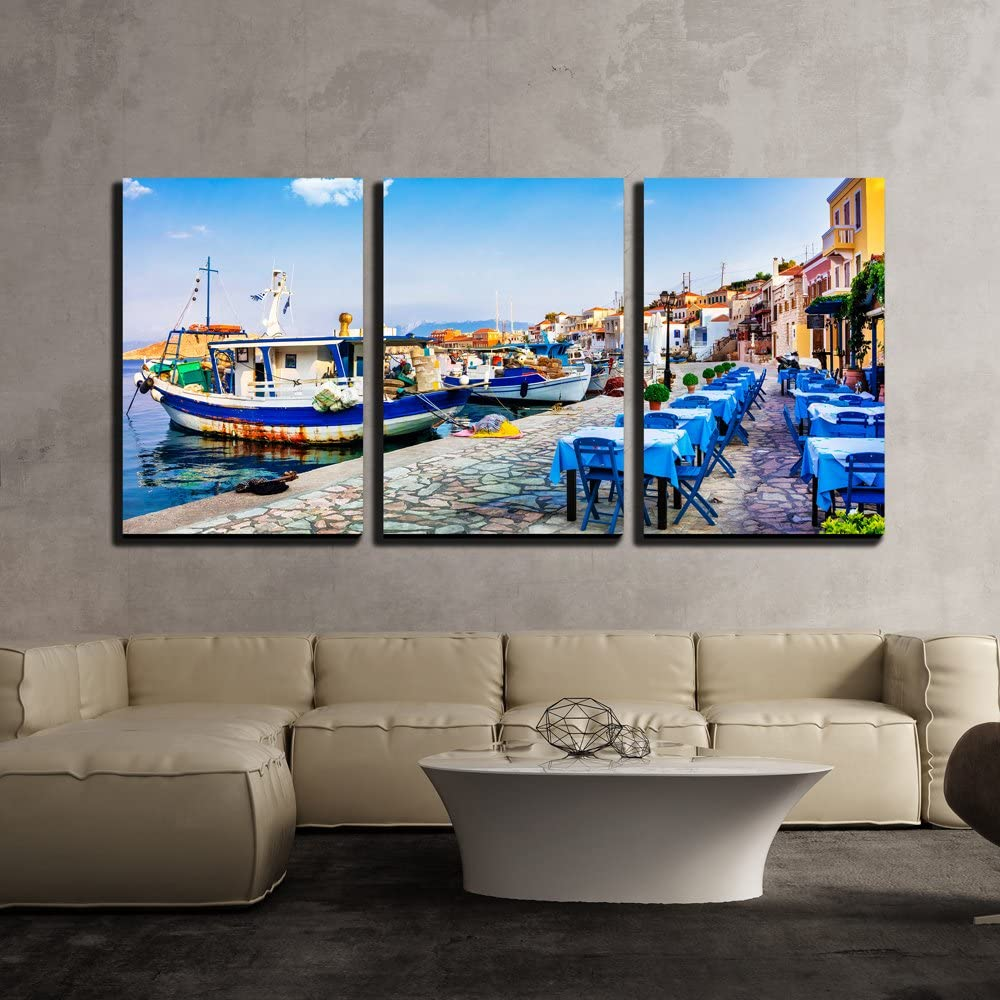 "wall26 - 3 Piece Canvas Wall Art - Traditional Greece - Old Fishing Boats and Tavernas, Chalki Island - Modern Home Decor Stretched and Framed Ready to Hang - 16""x24""x3 Panels"