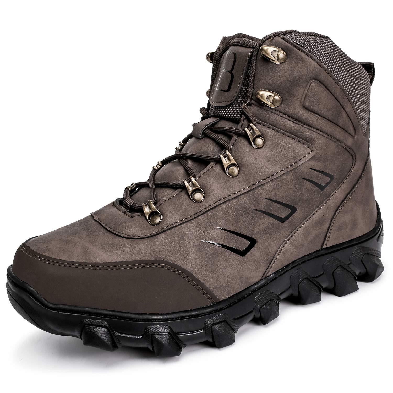 Barerun Slip-on Waterproof Snow Winter Boots Men Anti-Slip Lightweight Ankle Bootie Brown 14 D(M) US
