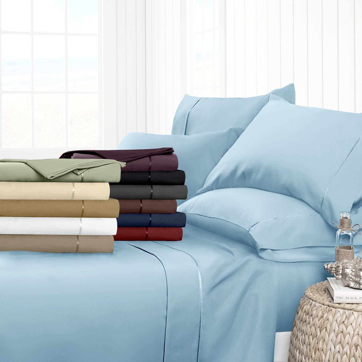 Egyptian Luxury Hotel Collection 4-Piece Bed Sheet Set - Deep Pockets, Wrinkle and Fade Resistant, Hypoallergenic Sheet and Pillow Case Set - Twin, Sky Blue