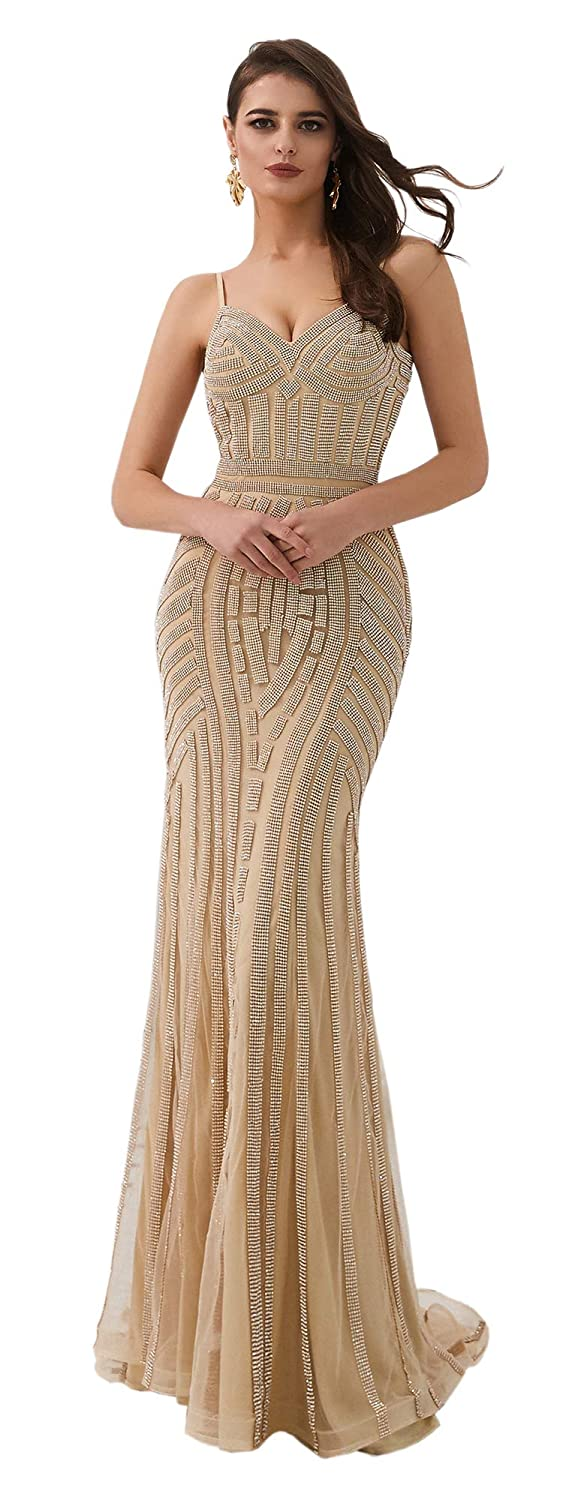 Champagne ONLYCE V Neck Spaghetti Straps Beaded Mermaid Long Prom Evening Dress