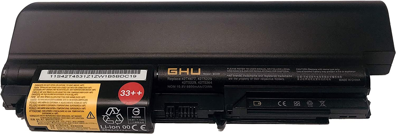 New GHU Battery 73 WH Replacement for 42T5264 42T5265 42t5230 41U3196 41U3197 41U3198 42T4530 42T4531 42T4532 42T4552 Compatible with Lenovo IBM ThinkPad R400 T400 T61(Wide Screen) R61 T61p