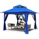 ABCCANOPY 13'x13' Gazebo Tent Outdoor Pop up Gazebo Canopy Shelter with Mosquito Netting (Blue)
