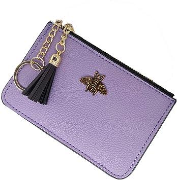AnnabelZ Women's Coin Purse Change Wallet Pouch Leather Card Holder with Key Chain Tassel Zip (CH Purple)
