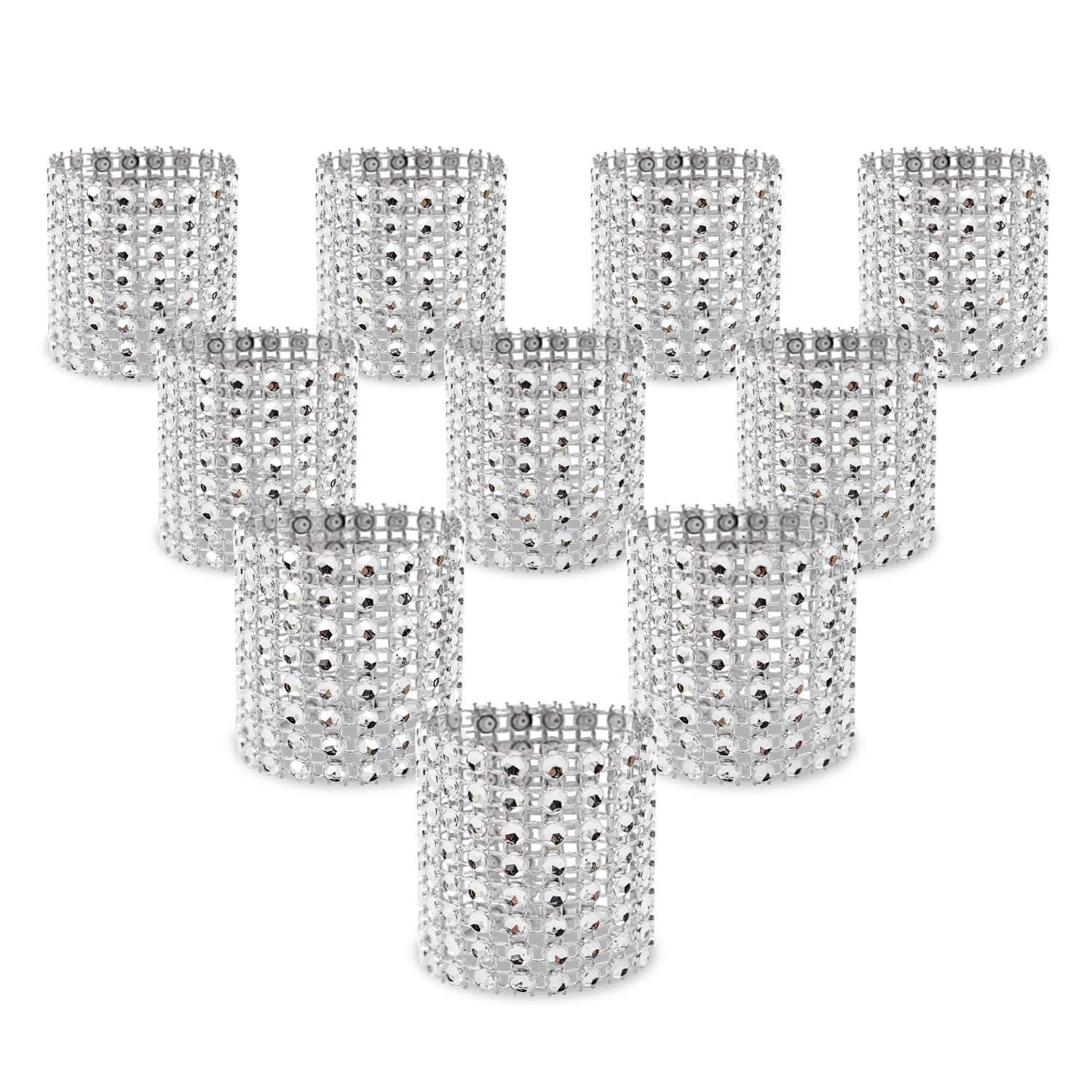 KEIVA Napkin Rings, Pack of 120 Rhinestone Napkin Rings Diamond Adornment for Place Settings, Wedding Receptions, Dinner or Holiday Parties, Family Gatherings (120, Silver) by KEIVA
