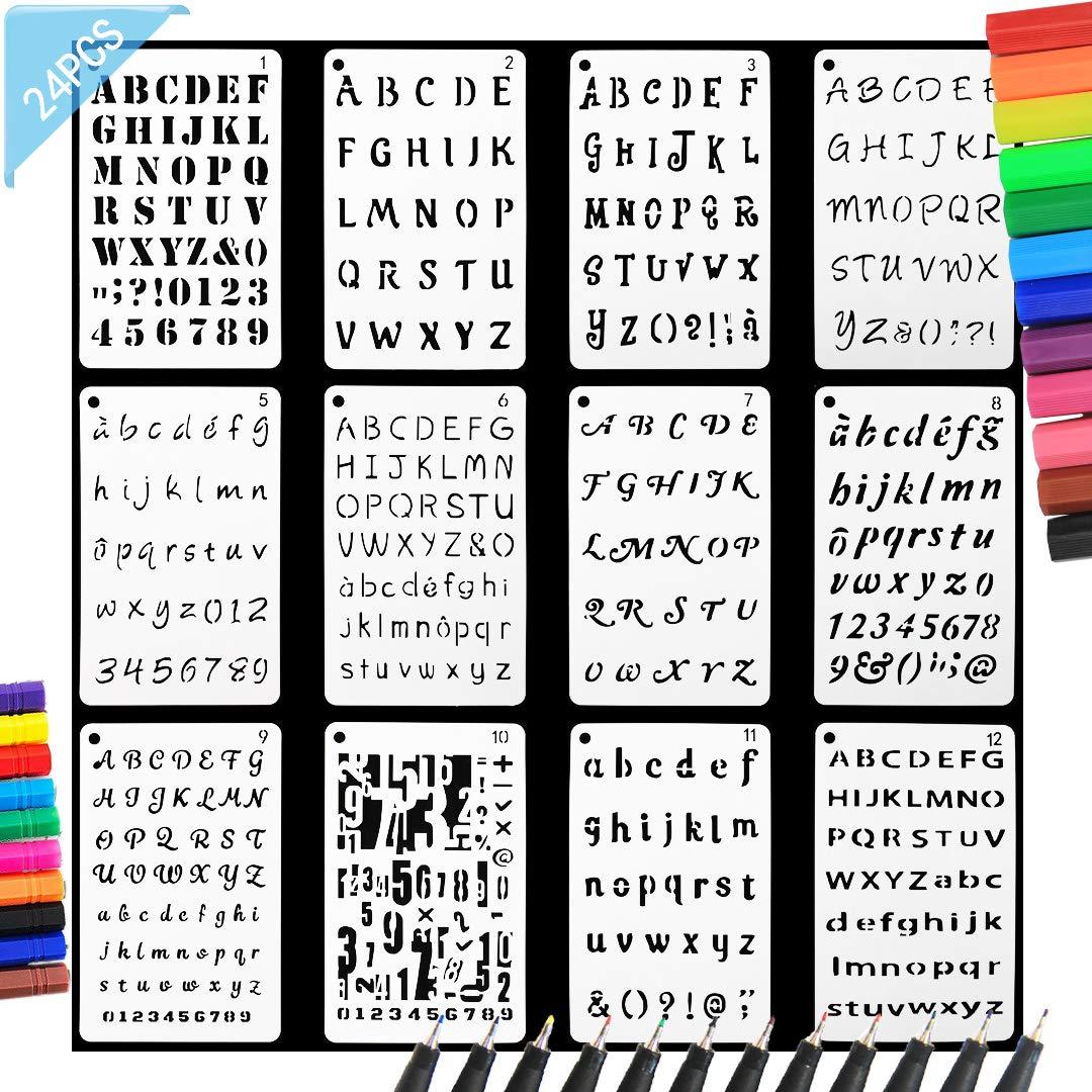 Angshop - Plantillas de letras y números, 12 unidades, 12 ...