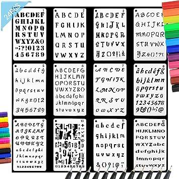 Angshop - Plantillas de letras y números, 12 unidades, 12 colores, bolígrafo de