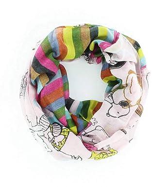 621025f14ac5ed CODELLO PEANUTS Snoopy LOOP Streifen Loop-Schal grau rosa 82063704  (Hellrosa)