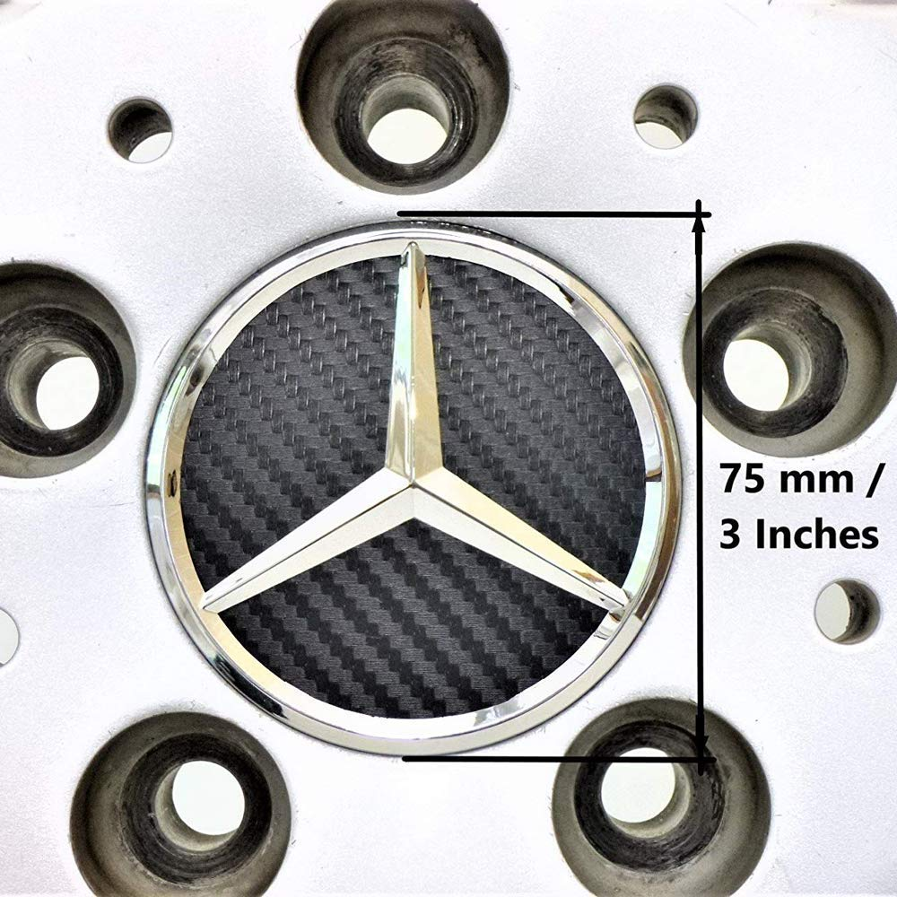 Black Carbon 4Pack Mercedes Benz Wheel Center Hub Caps Emblem,75mm Rim Black Carbon hubcaps Fit Benz C ML CLS S GL SL E CLK CL GL Center Cap Badge