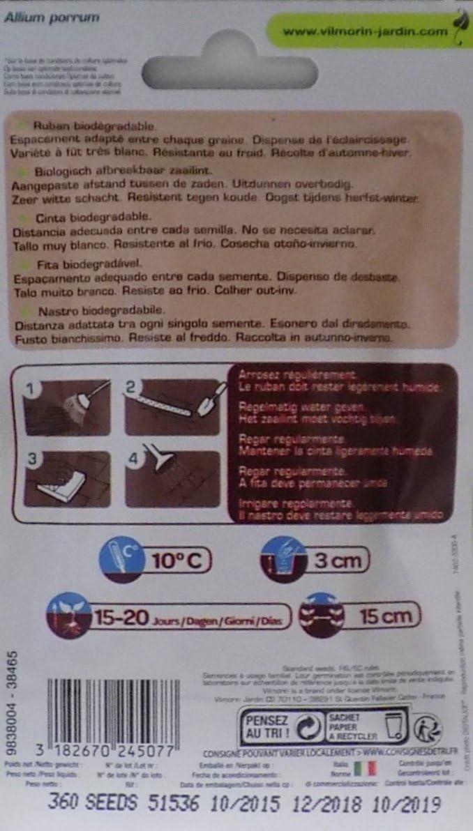 Vilmorin Cinta Biodegradable 100 Semillas de PUERRO Furor (Cultivo ...