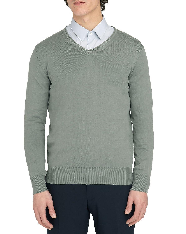 M.Studio - V-neck Sweaters - Men - Renaud khaki V-neck cotton sweater for men