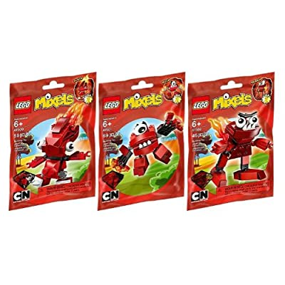 LEGO Mixels Red Infernite 3 Pack - Flain 41500, Vulk 41501, and Zorch 41502: Toys & Games