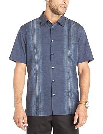 22d860e6cb5cf Van Heusen Men s Short Sleeve Texture Vertical Stripe Button-up Shirt (Blue  Lake
