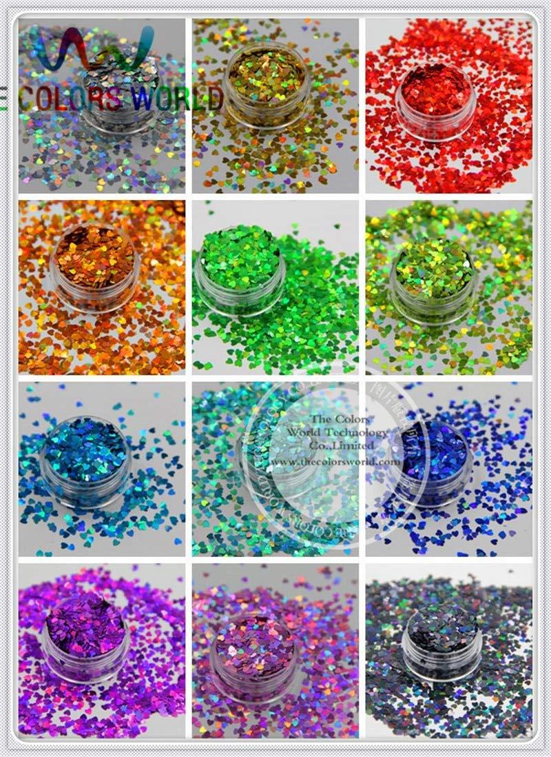 Kamas 12 holographic Heart Shape sequins paillette for nail decoration and other art DIY decora Size : 3MM - (Color: 12 Colors 20g Each)