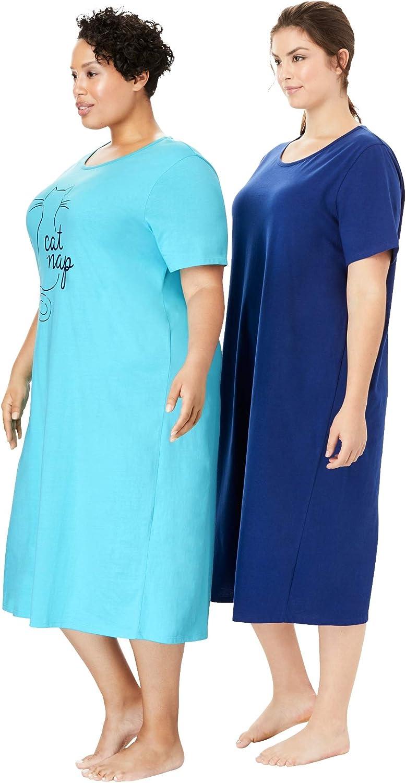 Dreams /& Co Womens Plus Size 2-Pack Long Sleepshirts
