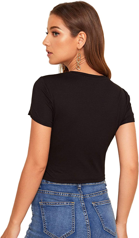 DIDK Damen Crop Tops Kurzarm T-Shirts Slim Fit Rundhals Shirt Sommershirts