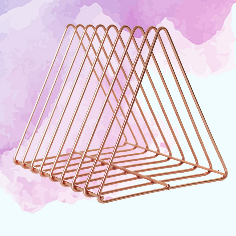 WINOMO Dreieckige Desktop-Buchregal Moderne Metalldraht B/ücherregal Einfache Zeitschriftenhalter Rack f/ür Home Office Rose Gold