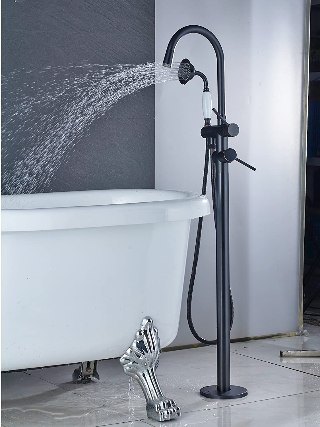 Zovajonia Oil Rubbed Bronze LED Light Bathroom Floor Mounted Tub ...