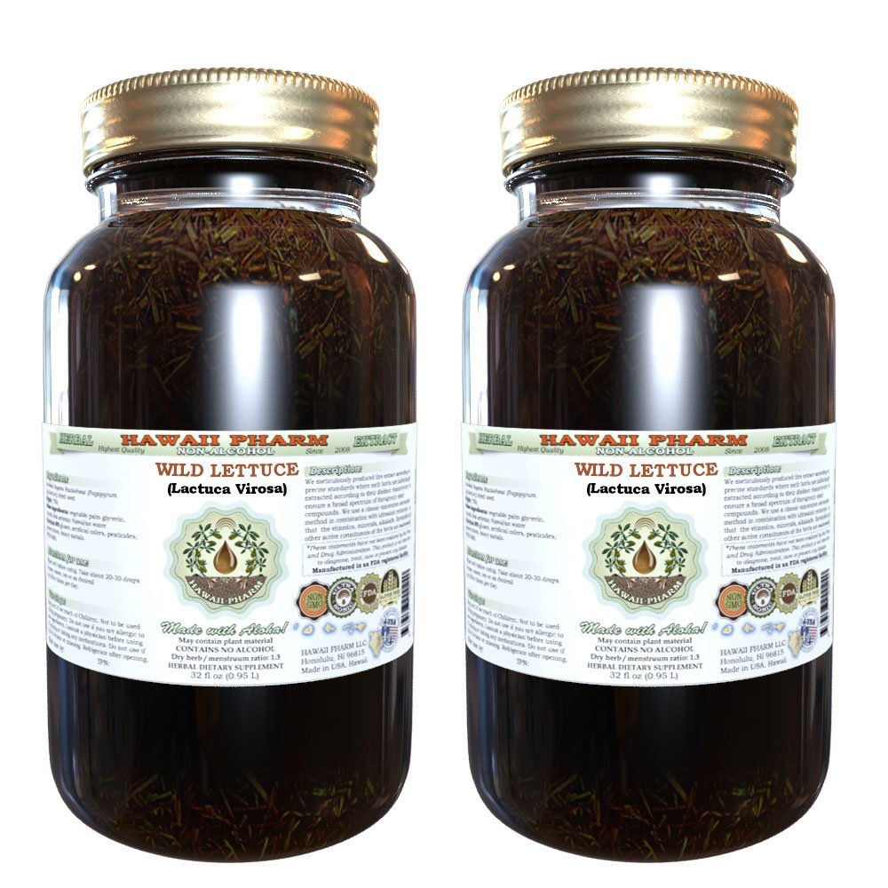 Wild Lettuce (Lactuca Virosa) Glycerite, Organic Dried Herb Alcohol-FREE Liquid Extract, Bitter Lettuce, Glycerite Herbal Supplement 2x32 oz Unfiltered