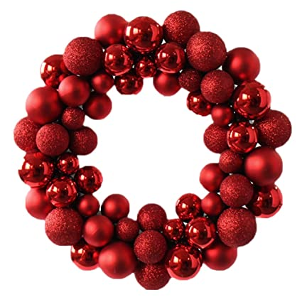 Amazon Com Wer Colorful Balls Christmas Wreath Garland Ornaments
