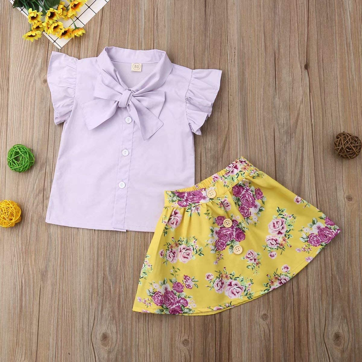 Kids Infant Baby Girls Summer 2Pcs Ruffled Sleeve Tops Shirt with Bowknot Suspender Floral Shorts//Skirt Clothing Set